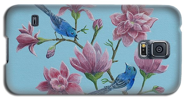 Black Naped Blue Flycatchers In Magnolias Galaxy S5 Case