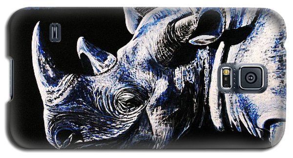 Galaxy S5 Case featuring the painting Black Rino by Viktor Lazarev