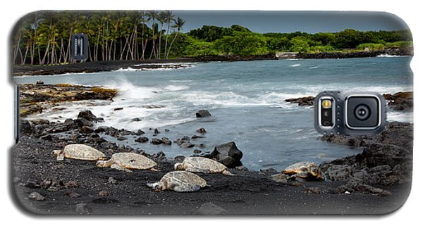 Galaxy S5 Case featuring the photograph Black Sand Beach Turtles by Ed Cilley