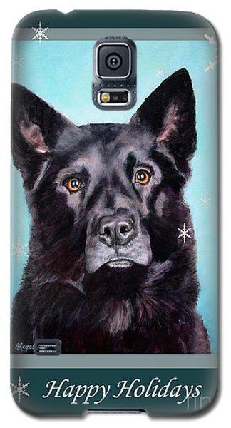 Black Shepard Mix Portrait Holiday Galaxy S5 Case
