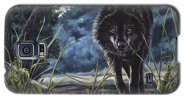 Black Wolf Hunting Galaxy S5 Case by Lucie Bilodeau