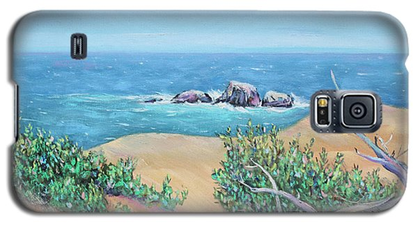 Galaxy S5 Case featuring the painting Bleached Cedar And Ocean Rocks by Asha Carolyn Young