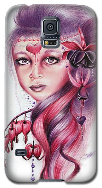 Galaxy S5 Case featuring the drawing Bleeding Heart by Sheena Pike