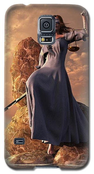Blind Justice With Scales And Sword Galaxy S5 Case by Daniel Eskridge