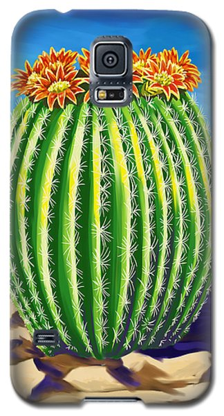 Galaxy S5 Case featuring the painting Blooming Barrel Cactus by Tim Gilliland
