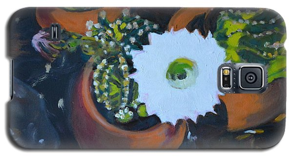 Galaxy S5 Case featuring the painting Blooming Cacti by Julie Todd-Cundiff