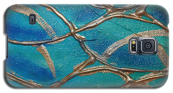 Galaxy S5 Case featuring the photograph Blue And Gold Abstract by Cynthia Snyder