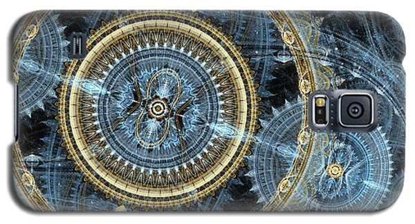 Blue And Gold Mechanical Abstract Galaxy S5 Case