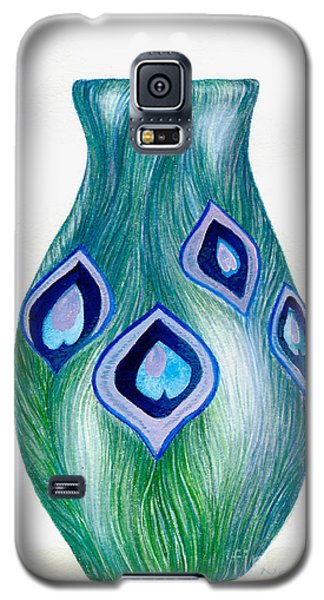 Galaxy S5 Case featuring the painting Blue And Green Peacock Vase by Nan Wright