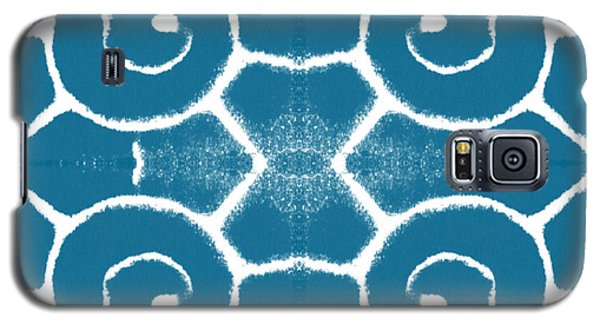 Blue And White Wave Tile- Abstract Art Galaxy S5 Case by Linda Woods