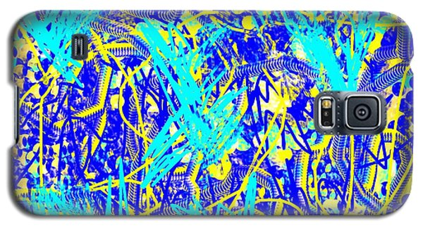 Blue And Yellow Abstract Galaxy S5 Case by Jessica Wright