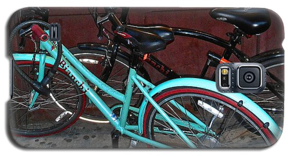 Galaxy S5 Case featuring the photograph Blue Bianchi Bike by Joan Reese