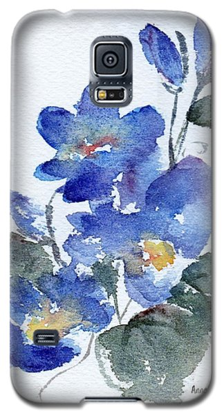 Galaxy S5 Case featuring the painting Blue Blooms by Anne Duke