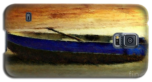 Blue Boat At Sunset Galaxy S5 Case