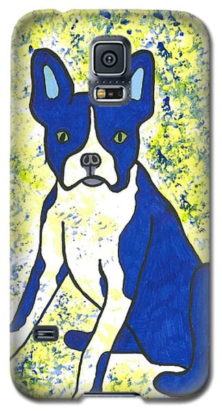 Galaxy S5 Case featuring the painting Blue Bulldog by Susie Weber