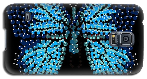 Blue Butterfly Black Background Galaxy S5 Case