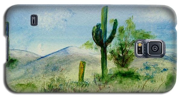 Galaxy S5 Case featuring the painting Blue Cactus by Jamie Frier