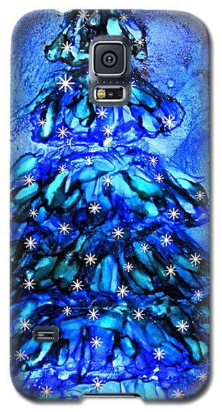 Blue Christmas Tree Alcohol Inks  Galaxy S5 Case