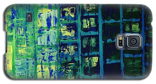 Galaxy S5 Case featuring the painting Blue City 2 by Linda Bailey