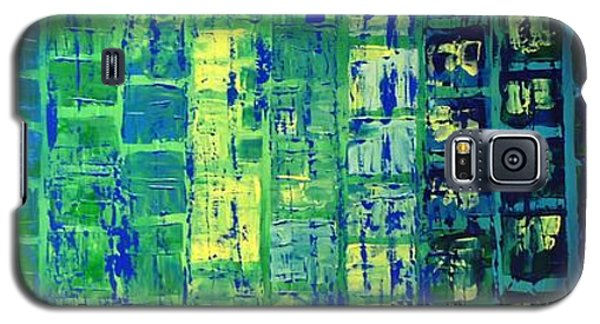 Galaxy S5 Case featuring the painting Blue City by Linda Bailey