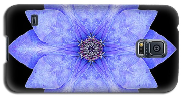 Galaxy S5 Case featuring the photograph Blue Clematis Flower Mandala by David J Bookbinder