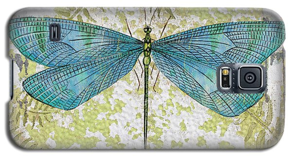 Blue Dragonfly On Vintage Tin Galaxy S5 Case by Jean Plout