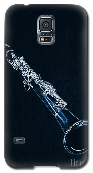 Blue Drawing Of A Clarinet Music Instrument 3011.06 Galaxy S5 Case