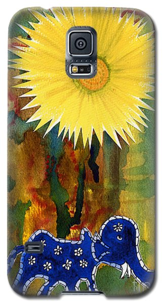 Galaxy S5 Case featuring the painting Blue Elephant In The Rainforest by Mukta Gupta