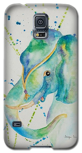 Galaxy S5 Case featuring the painting Blue Elephant by Tamyra Crossley