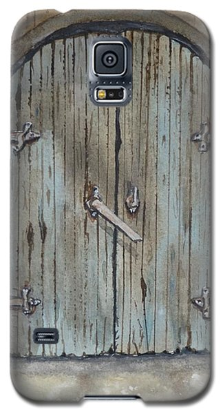 Galaxy S5 Case featuring the painting Blue Entrance Door Has Stories by Kelly Mills