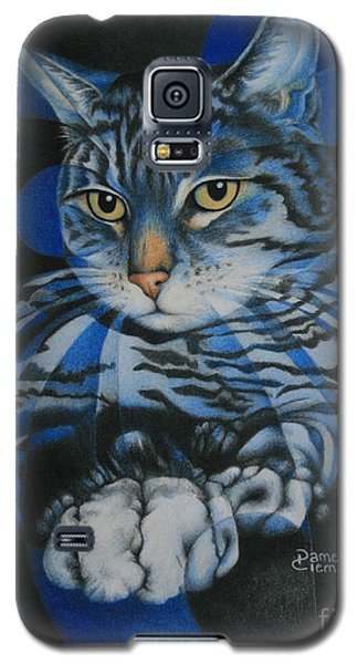 Galaxy S5 Case featuring the painting Blue Feline Geometry by Pamela Clements