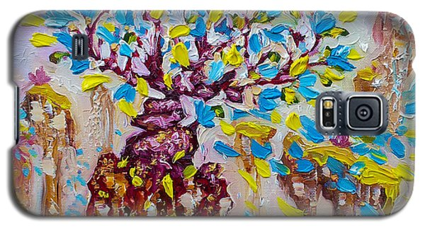 Blue Flower Painting Tree Art Oil On Canvas By Ekaterina Chernova Galaxy S5 Case