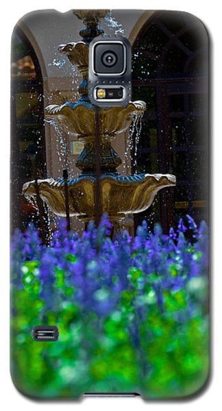 Blue Flowers And A Fountain Galaxy S5 Case