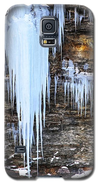 Blue Frozen Icicle Stalactites Galaxy S5 Case by Darleen Stry