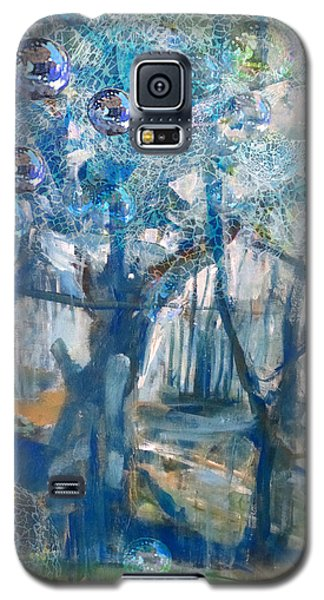 Galaxy S5 Case featuring the mixed media Blue Glass Bead Tree by John Fish