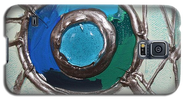 Galaxy S5 Case featuring the painting Blue Green And Gold Circle by Cynthia Snyder