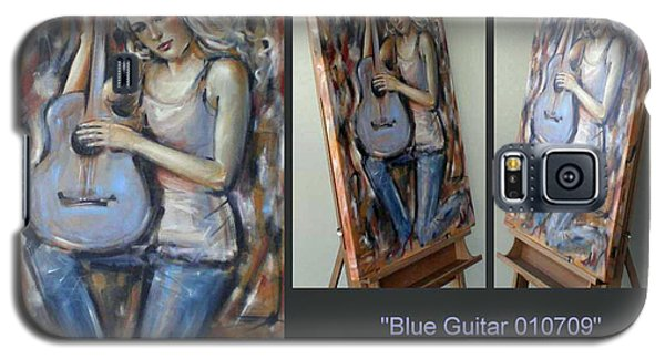 Galaxy S5 Case featuring the painting Blue Guitar 010709 Comp by Selena Boron