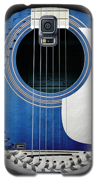 Blue Guitar Baseball White Laces Square Galaxy S5 Case