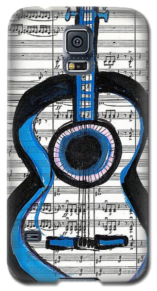 Galaxy S5 Case featuring the drawing Blue Guitar Music by Ecinja Art Works