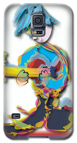 Blue Hair Guitar Player Galaxy S5 Case by Marvin Blaine