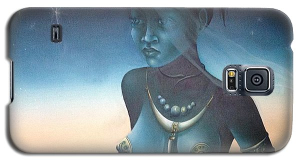 Galaxy S5 Case featuring the painting Blue Haitian Woman by Jean Pierre