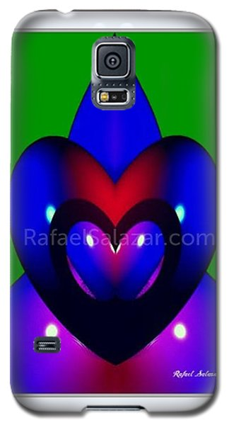 Galaxy S5 Case featuring the painting Blue Hearts by Rafael Salazar