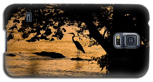 Galaxy S5 Case featuring the photograph Blue Heron At Sunset by Andy Lawless
