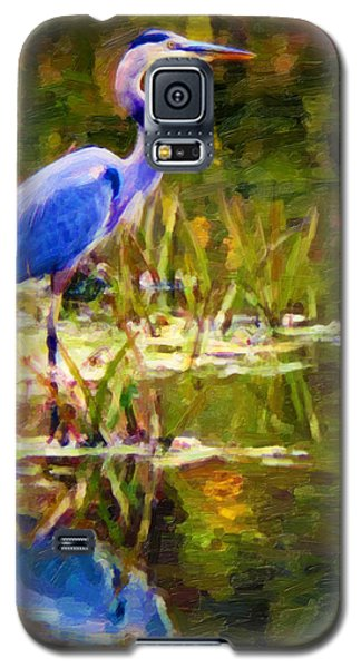 Galaxy S5 Case featuring the digital art Blue Heron by Chuck Mountain