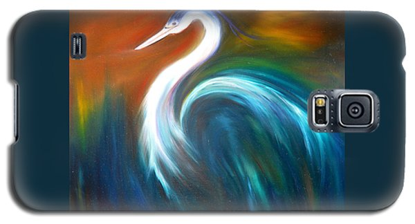 Galaxy S5 Case featuring the painting Blue Heron by Dorothy Maier