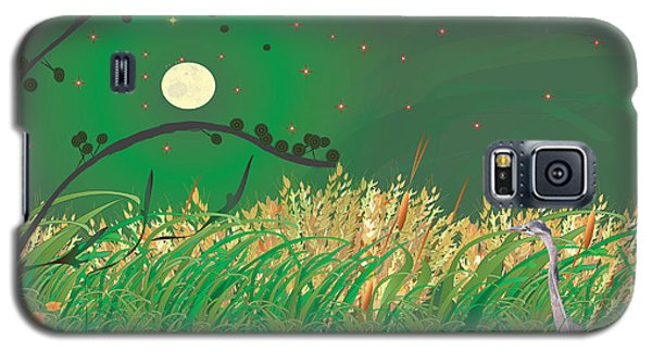 Galaxy S5 Case featuring the digital art Blue Heron Grasses by Kim Prowse