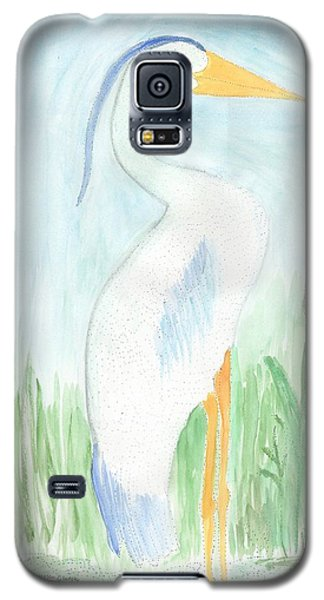 Galaxy S5 Case featuring the painting Blue Heron In The Tules by Helen Holden-Gladsky