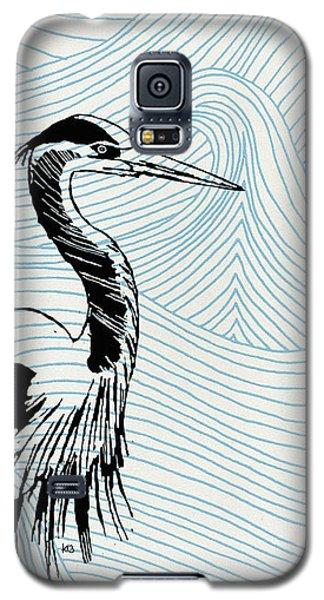 Blue Heron On Waves Galaxy S5 Case