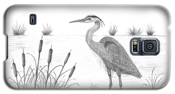 Galaxy S5 Case featuring the drawing Blue Heron by Patricia Hiltz