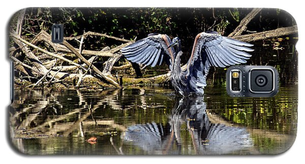 Blue Heron Stance Galaxy S5 Case by David Lester